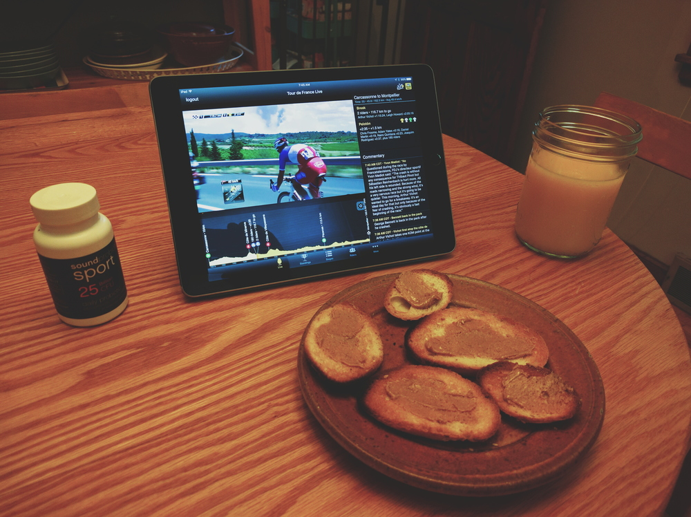 Breakfast, and the Tour de France. All we had were the last few little pieces of a funny little loaf of bread...