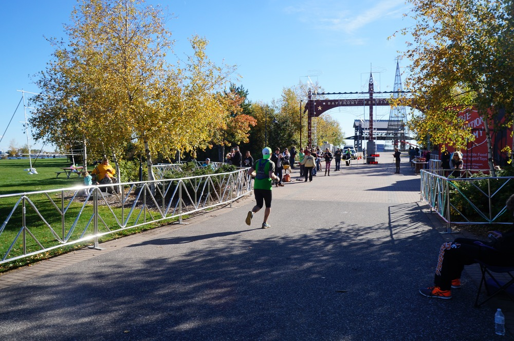Finish line of the Wild Duluth 50km, October 2015.