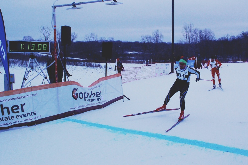 Finish of the Three Rivers Park Rennet, Hyland Lakes Park, January 2015. One of my most satisfying races in recent memory.