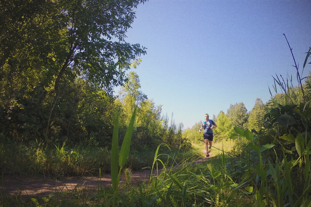 Flying through the prairie on a perfect 70-degree bluebird morning on the singletrack at Murphy Hanrehan park, August 2016.