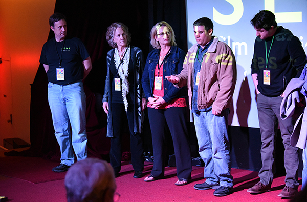 "(Second from left) ""If Not Now"" actor Catherine McGuire and BS Filmworks director Lori Kay Allred answer questions in the filmmaker Q&A after the Friday evening screening at Columbus Theater in Providence, Rhode Island. (April 2015)"