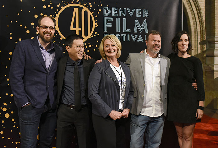 "Mike Ostroski, Scott Takeda, Lori Kay Allred, Brock Sherman and Kate Cook on the red carpet of the premiere of ""The Outsider"" at the 40th Annual Denver Film Festival. (photo by Cyrus McCrimmon)"
