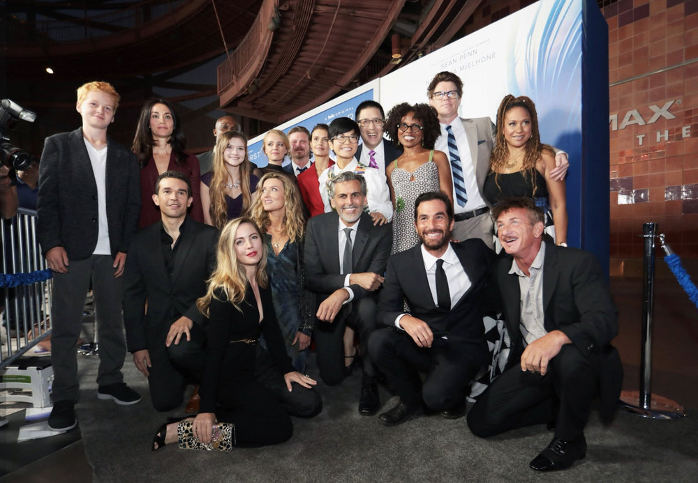 "The cast of Hulu's ""The First"" pose for a cast photo at the world premiere in LA. (Courtesy of Getty Images.)"