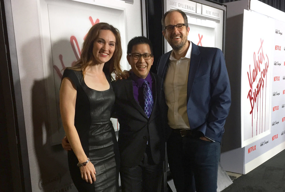 "BS Filmworks director Scott Takeda walks the carpet of Netflix' ""Velvet Buzzsaw"" with actor Kristen Rakes and ""Remembering Us"" lead actor Mike Ostroski."