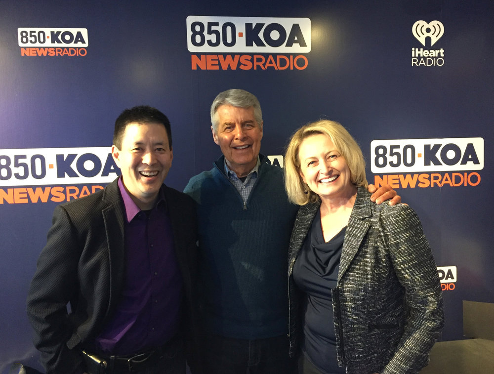 BS Filmworks co-directors Scott Takeda and Lori Kay Allred with KOA NewsRadio's Ed Greene in KOA's studios.
