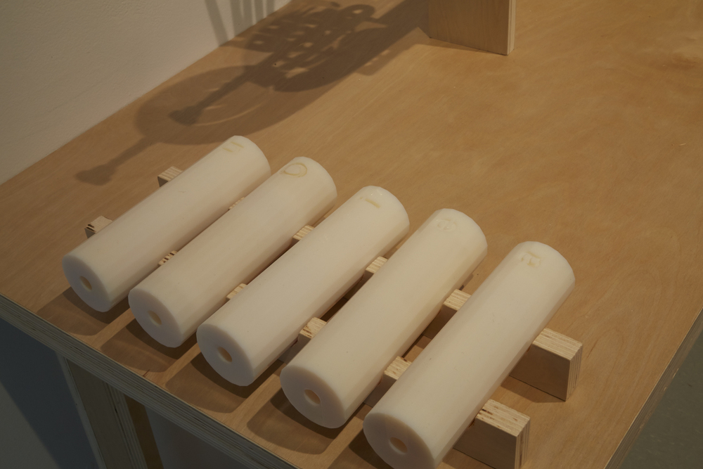 """Aurihorn (vocal insert detail),"" 2014, exhibition view: New Museum. Photo credit: Jesse Untract-Oakner"