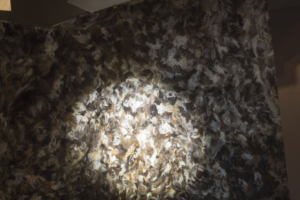 Mountain/Cave (detail of felt made with Kim Charles Kay), exhibition view: New Museum. Photo credit: Jesse Untract-Oakner
