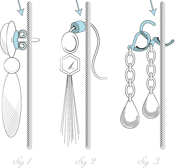 Push your earring backs all the way into your hook or stud earrings before putting them in your holder. (Sig. 1 & 2) For earrings with clip-backs, hook a closed clip-back onto a opened one and insert into your  Chel  jewelry traveler. (Sig 3)