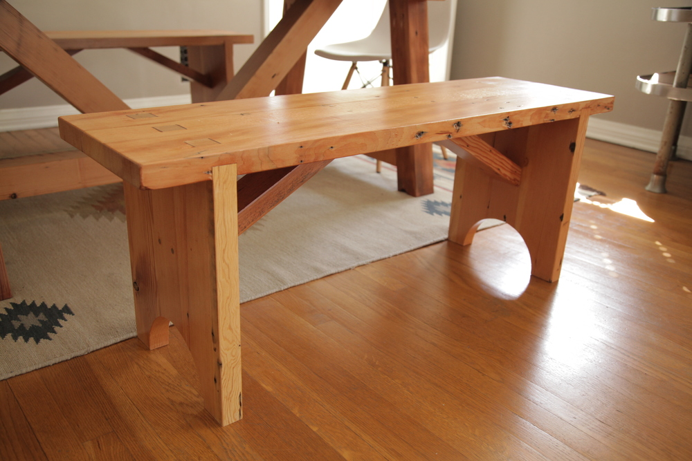 These Rustic Benches Were Made To Go With The Truss Beam Dining Table. Itu0027s  Constructed From Reclaimed Douglas Fir And Is Incredibly Durable.