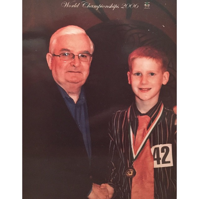 Good Friday, Great Memories! Here is Alan Crean being presented his world medal by the late and great Dennis Dennehy 9 years ago! #irishdance #crosskeysid #clrgworlds2015