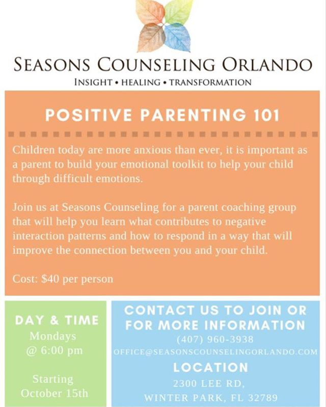 It's still not too late to call our office , sign up, and get added to our positive parenting group! Join us to learn new tools and skills to help enhance the connection with your child and improve your confidence as a parent!
