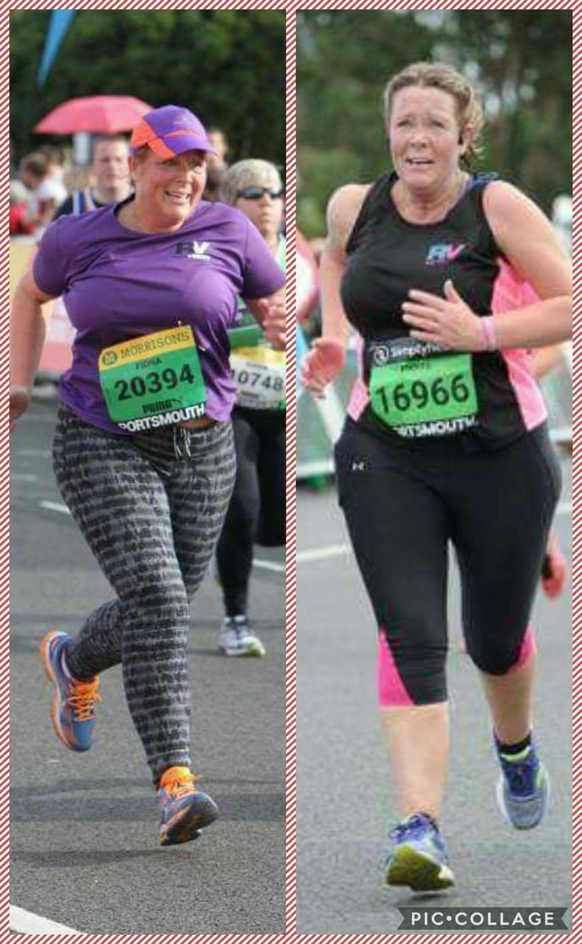 Fiona joined RunVerity in November 2014 as a complete novice to running.  The hard work that Fiona has put into her running shows in these 2 photos, on the left is Fiona finishing the GSR in 2015, she has a good technique and is very determined. However the photo on the right shows how much more toned, stronger and fitter Fiona is with an even better running technique that enables her to finish with such strength and power.  Fiona took over 22 minutes off her time from 2 years ago, just brilliant -