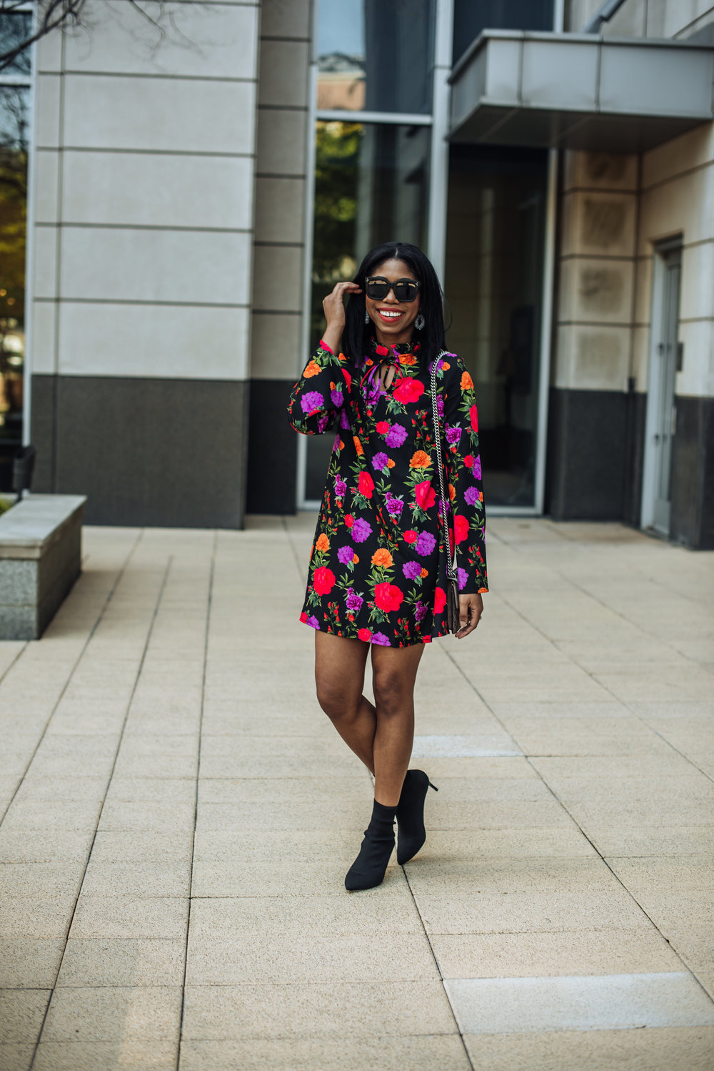 how to style a bootie in spring floral dress
