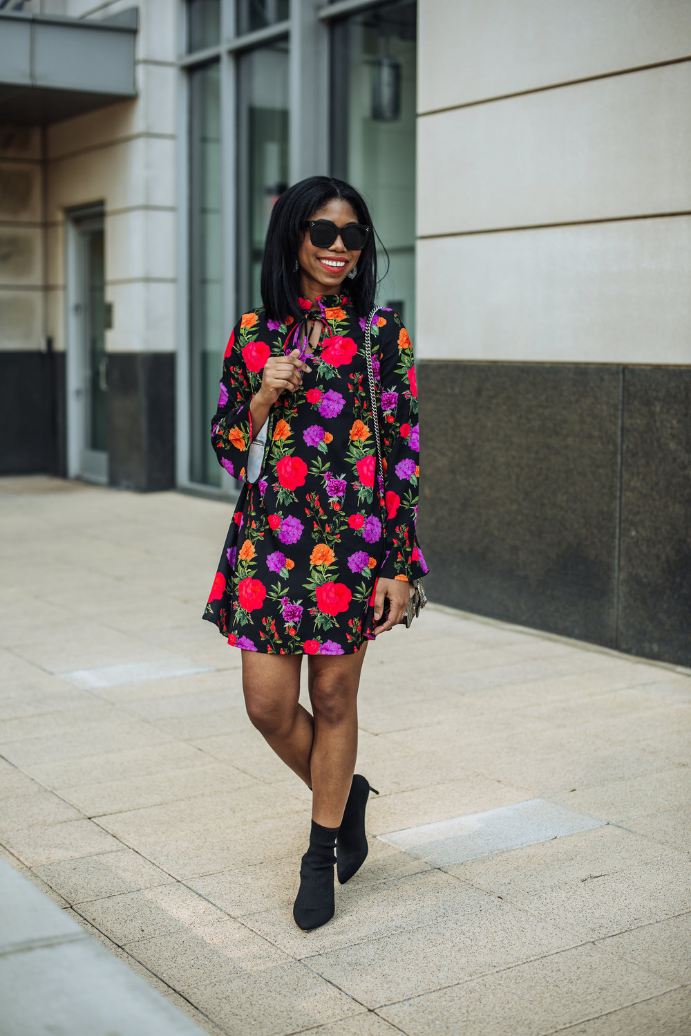 how to style a bootie in the spring summer floral dress pour la victorie shoes