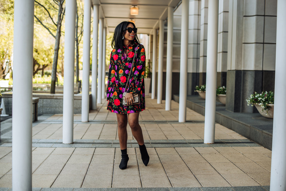 floral dress styled for spring