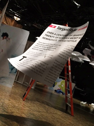 """Target, in Vogue NYFW Kickoff Event 2015: Flying Pages (Sintra, Vinyl; 54""""x74""""x.25"""")"""