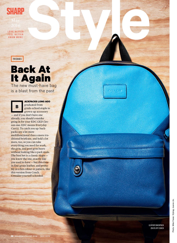 Sharp Magazine / May 2016 Coach Backpack