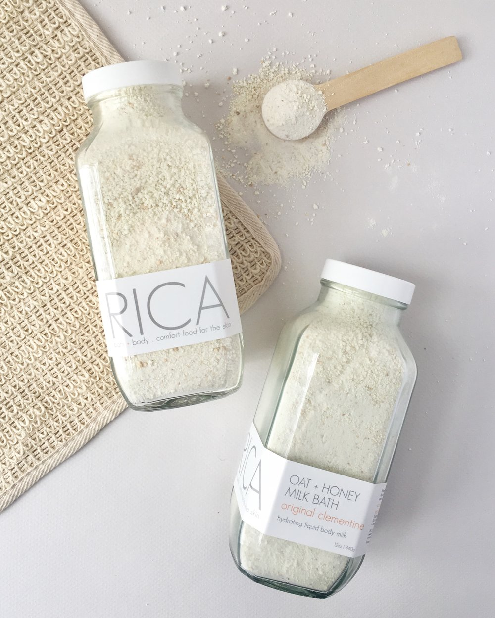 RICA bath + body Oat + Honey Milk Bath Original Clementine Tall 2 jars with spoon.JPG