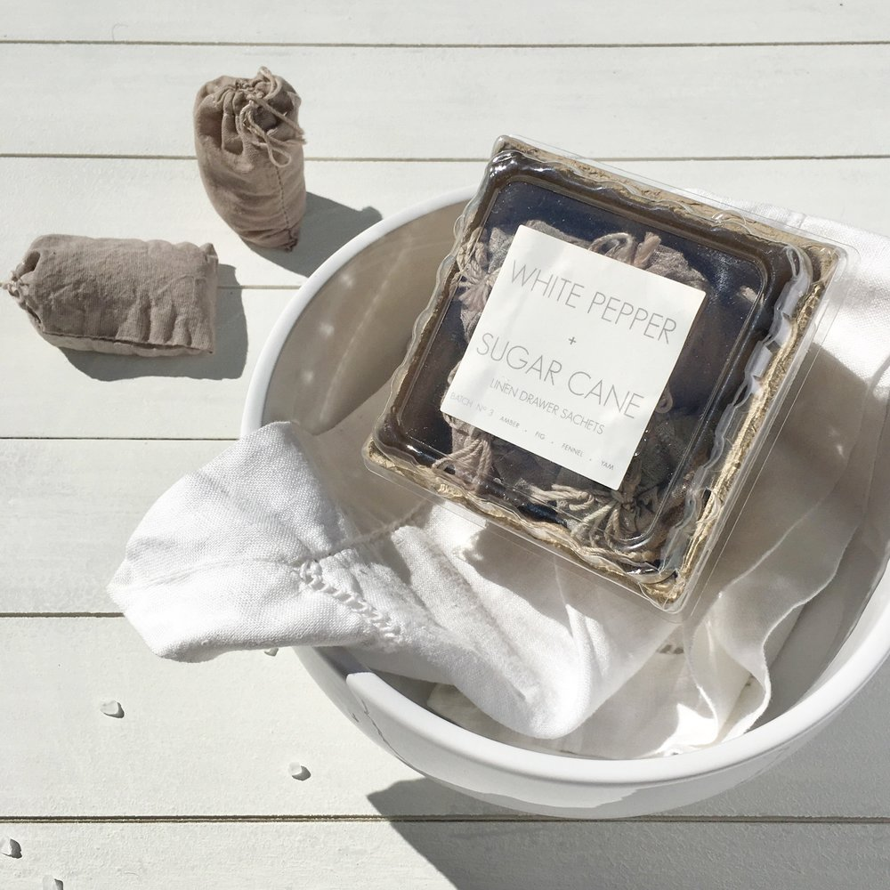 RICA bath + body Spring Clean White Pepper + Sugar Cane Linen Drawer Sachets