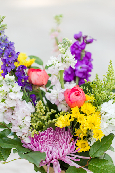 Flowers with color add to a wedding