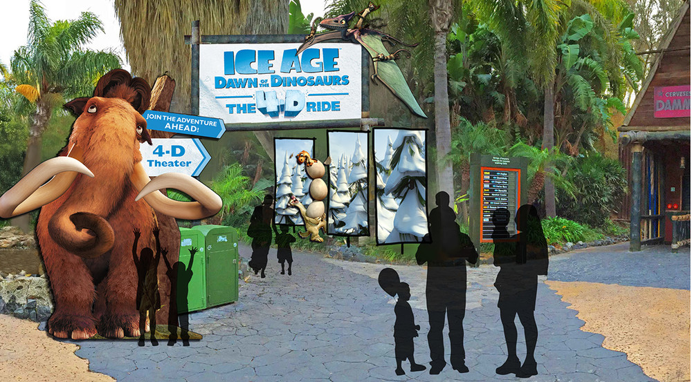 Zoo Entrance 4-D Theatre - concept mock-up (cost-effective solution)