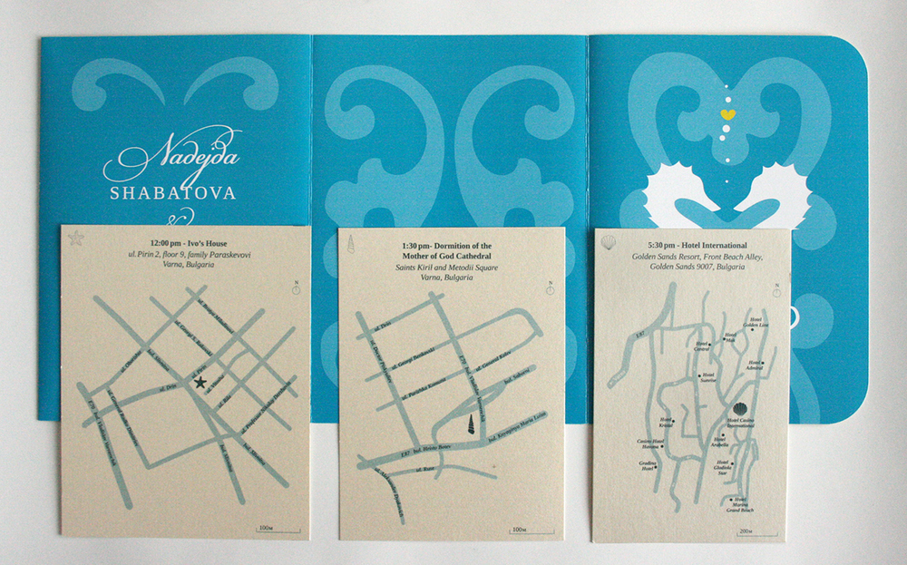 Fully Open Invitation (outside) and Map Cards