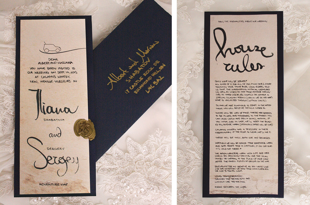 Hand-crafted Vintage Invitation   (front, envelope and back)