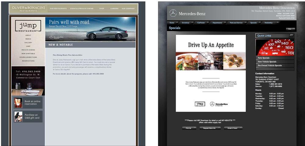 Online Promotion Ads on both brand's websites