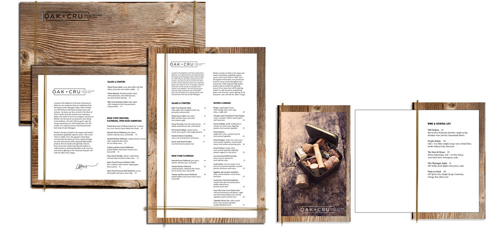 Menu Option 1 - The Final Menu Design Selected substrate: oak/wood board, cardstock insert pages binding: medium thickness hemp twine wrap finishes: laser-cut burnt logo (back side)