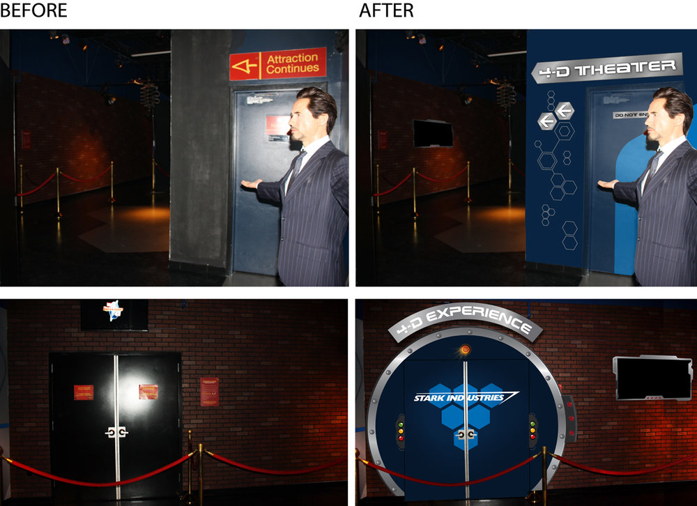 Enhanced Attraction's Interior and Wayfinding Direction signs (top),  theater entrance graphics, monitor wrap (bottom)