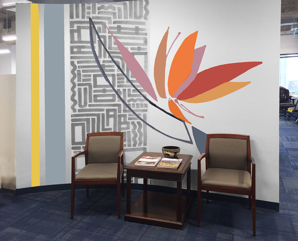 Concept 3 - Freedom Bird  Simple and clean juxtaposition of a traditional pattern with an illustration of Bird of Paradise flower. The theme is moving forward for a sustainable growth, supported by a modern aesthetic. The few grey elements accentuate the energy of the warm hues.