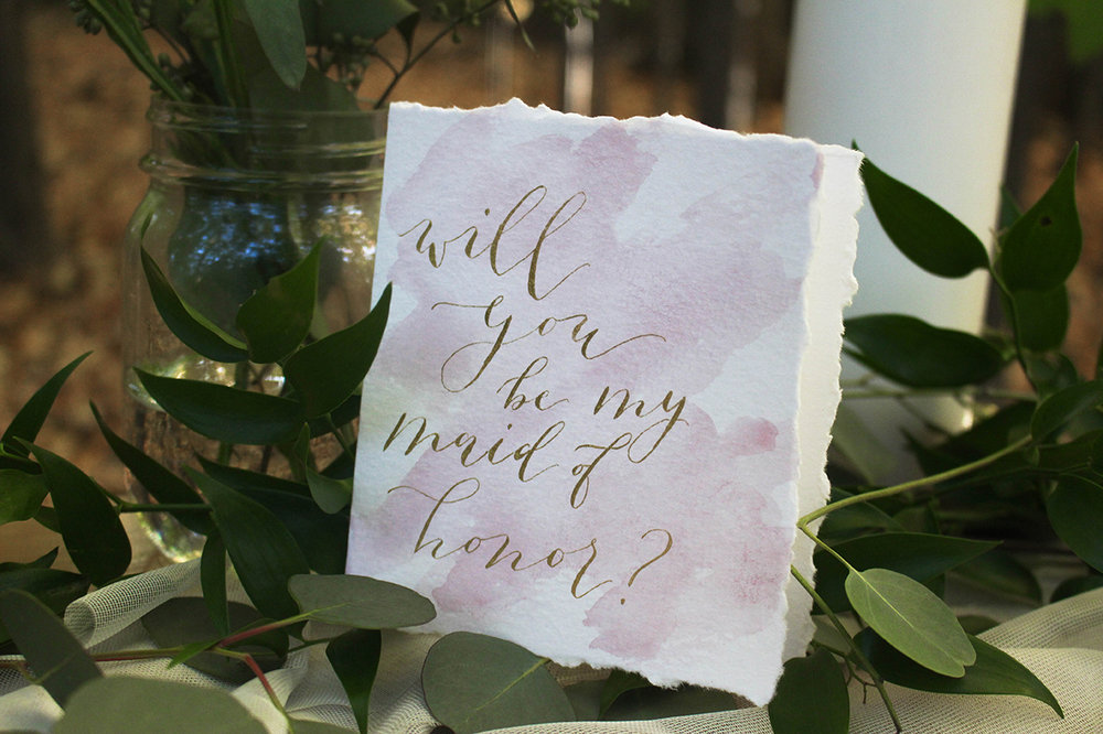 "Burgundy Watercolor Gold Ink ""Will You Be My Maid Of Honor Card?"""