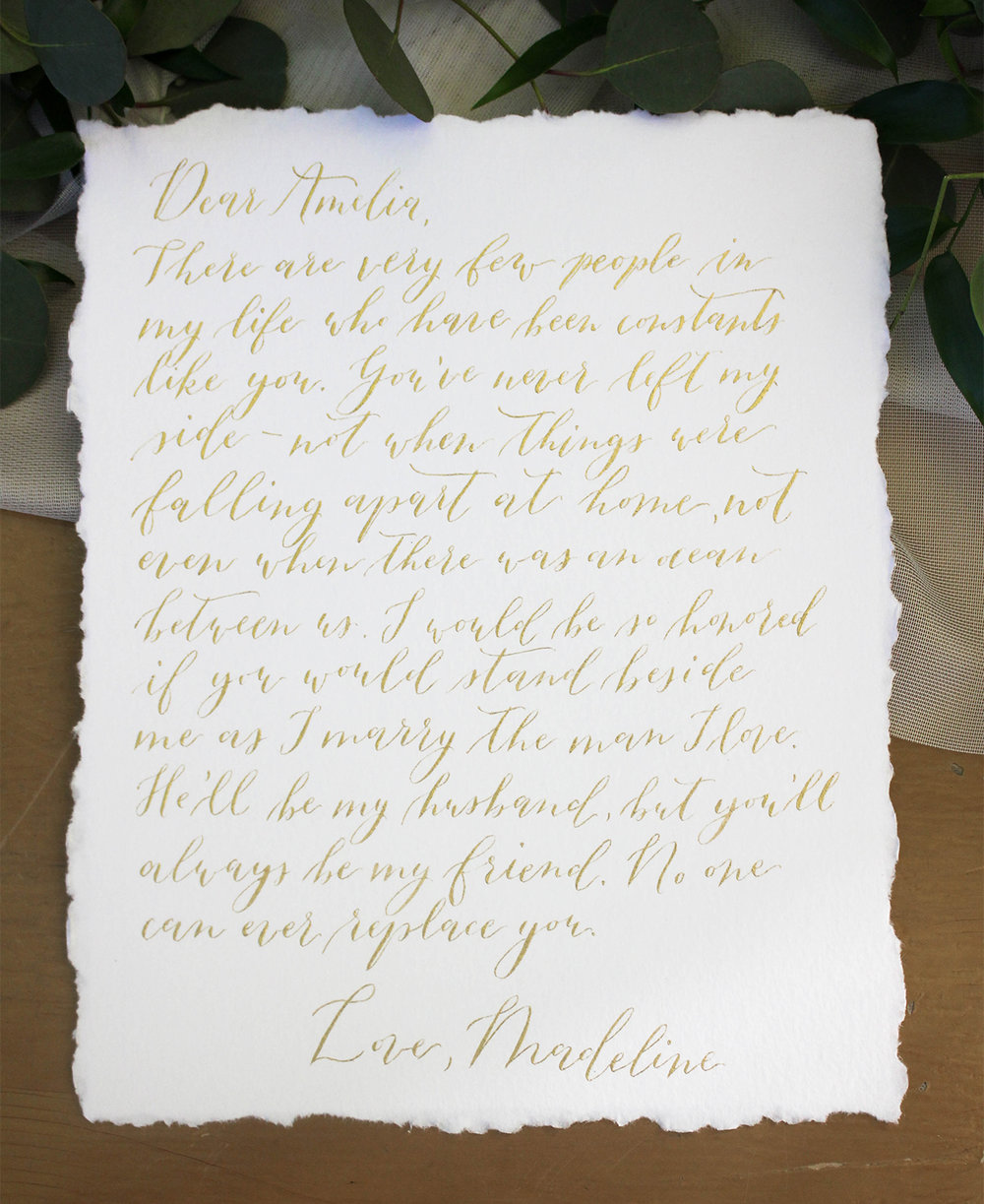 Gold Ink Deckled Edge Letter to Best Friend