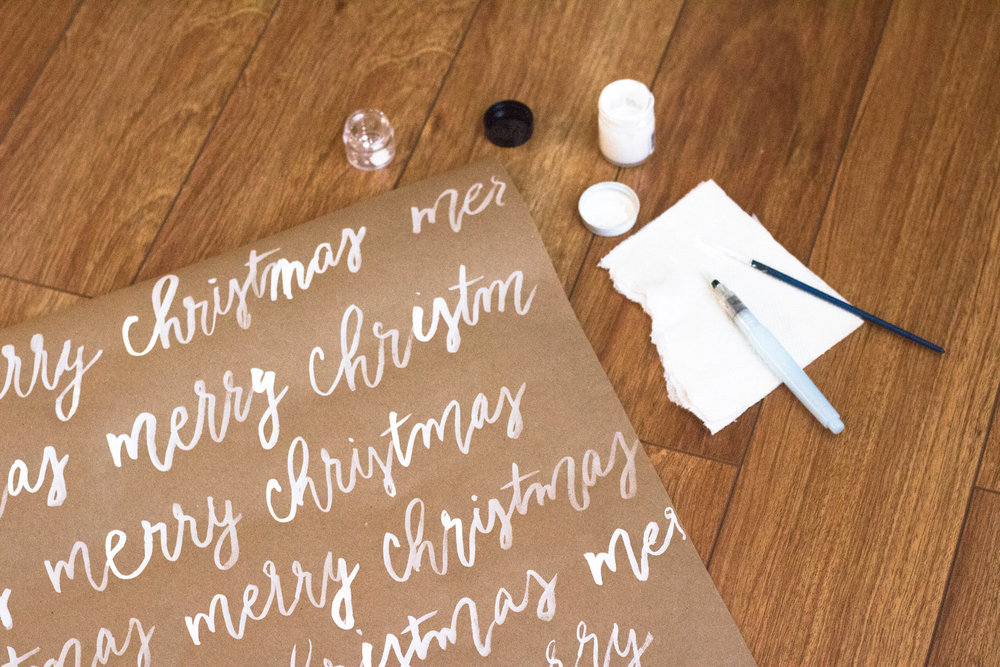 Hand Lettered Kraft Wrapping Paper