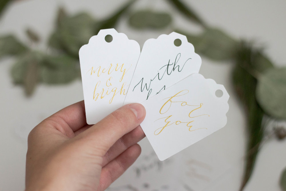 Calligraphy Gift Tags - Black and Gold Ink