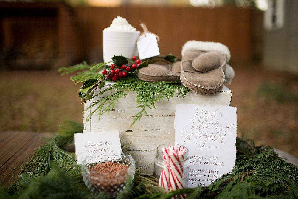 Woodsy Christmas Calligraphy Shoot