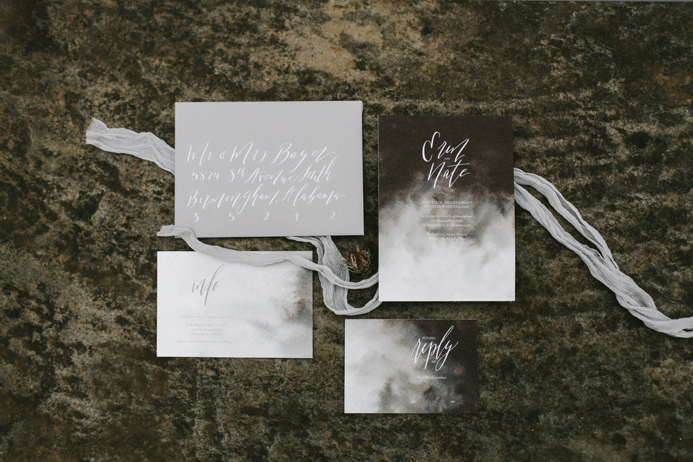 Moody Watercolor Invitations - Wedding Calligraphy - Autumn Wedding Inspiration