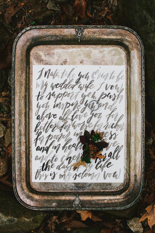 Handwritten Vows - Custom Brush Lettered Vows - Autumn Wedding Ideas