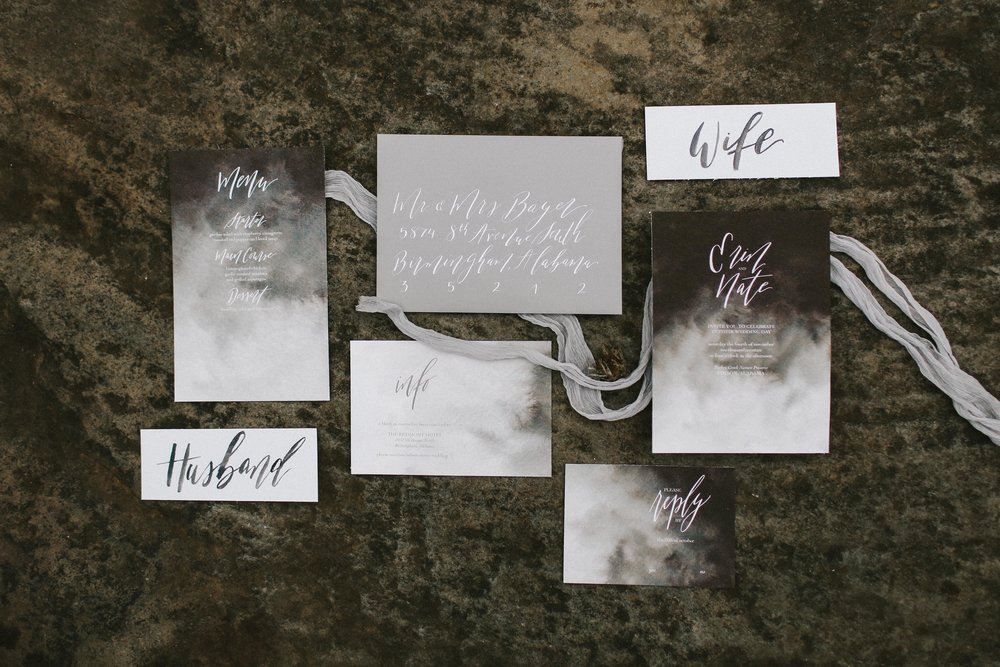 Moody Watercolor Invitation Suite - Minimalist Wedding Calligraphy - Edgy Fall Wedding Shoot