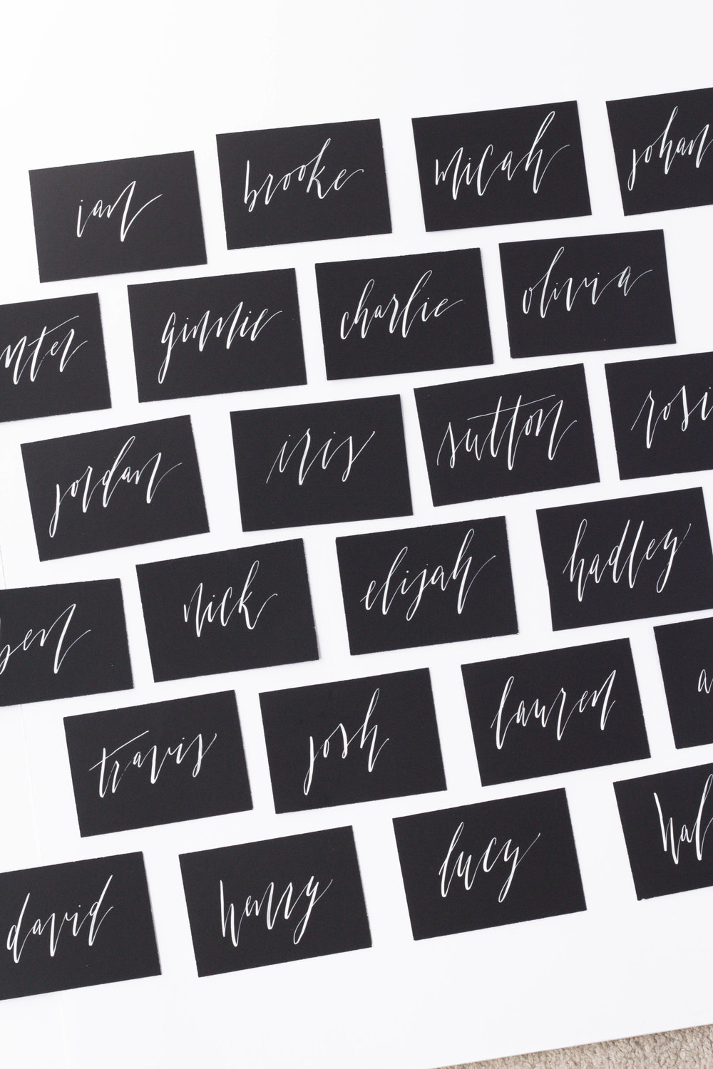 Black Place Cards with White Ink Calligraphy - Organic and Raw Edgy Wedding Details - True North Paper Co.