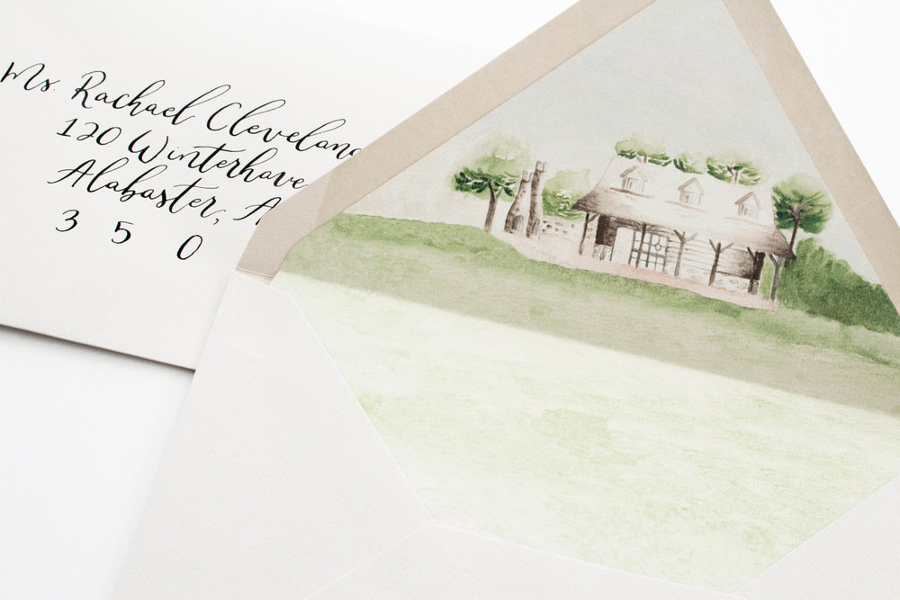 Custom Envelope Liner - Wedding Venue Watercolor Sketch - Watercolor Envelope Liner - True North Paper Co.