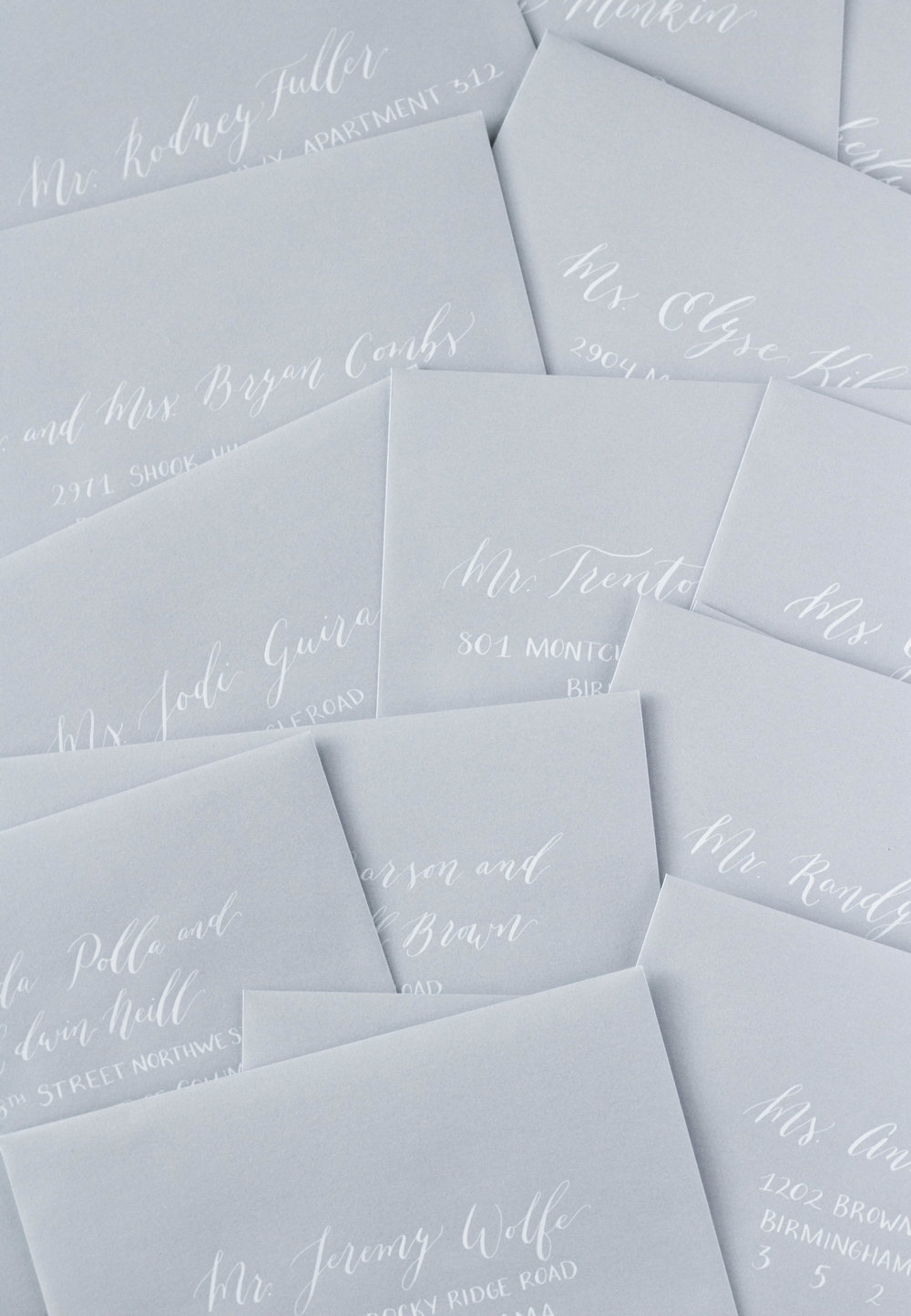Silver Envelopes, White Ink - Envelope Addressing - Modern Calligraphy