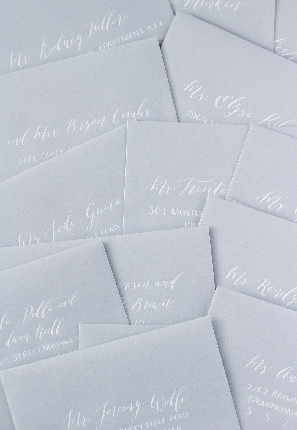 Silver Envelopes, White Ink - Envelope Addressing - Modern Calligraphy