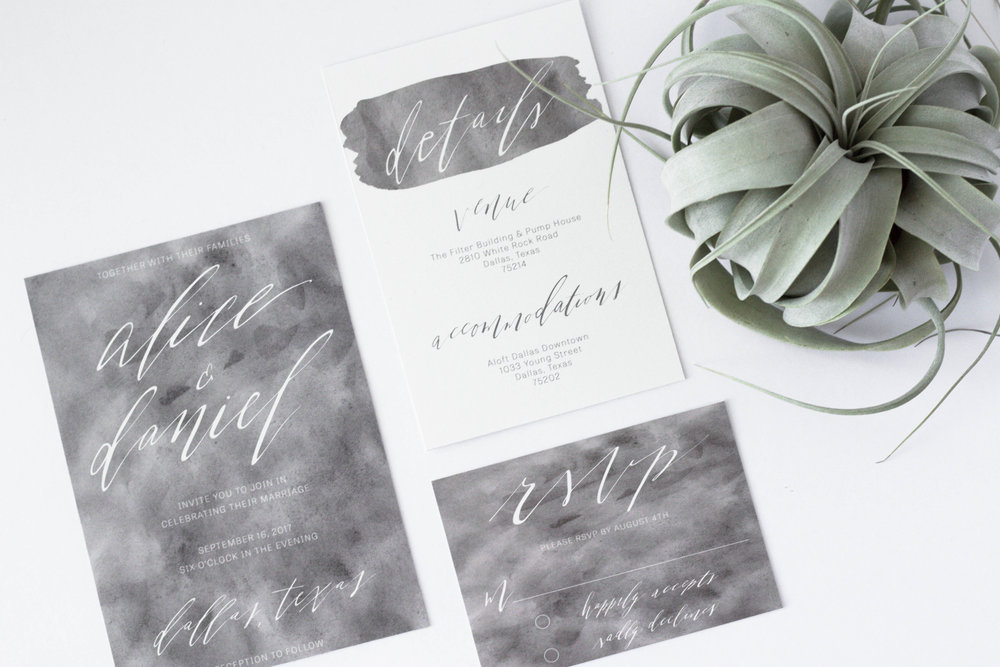 Watercolor and Calligraphy Invitations - Wedding Invitation Suite - Grey and White Wedding Invitations - True North Paper Co.
