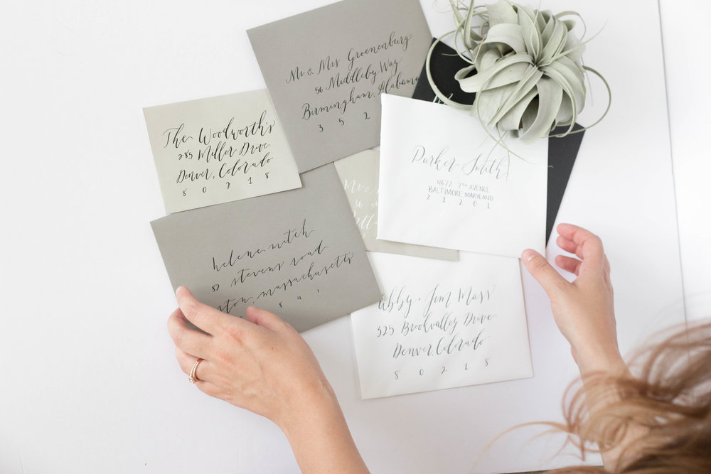 Grey White and Black Envelopes Addressed in Calligraphy - True North Paper Co.