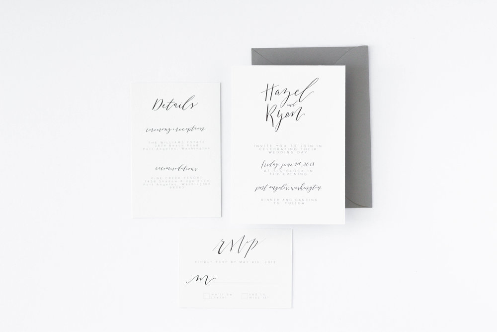 Minimalist Wedding Invitation - Neutral Design - True North Paper Co.