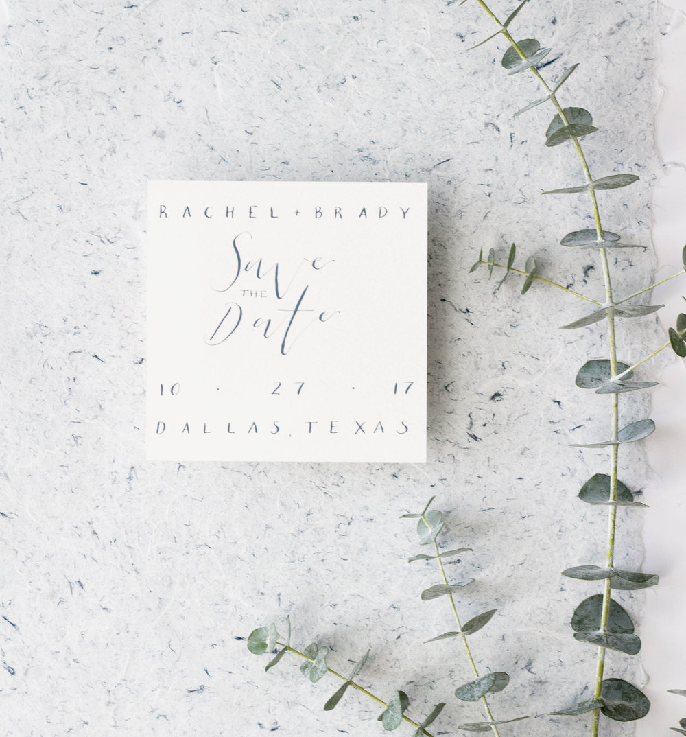 Minimalist Save the Date - Square Invitation - Wedding Stationery -  True North Paper Co.