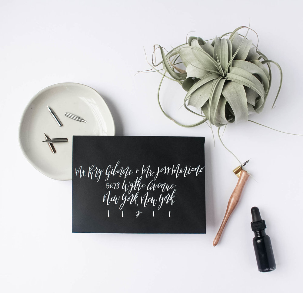 Wedding Envelope Addressing Etiquette - Black Envelope with White Ink - True North Paper Co.