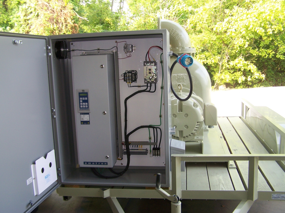 An Emotron FDU 2.0 in a control cabinet that was supplied by Tennessee Process Pumps.