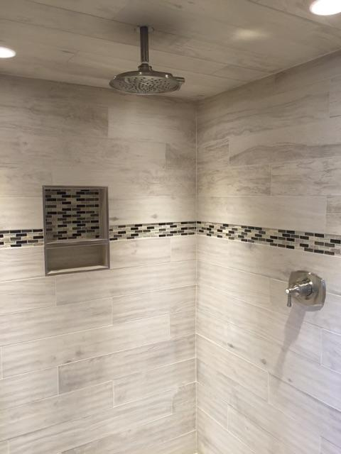 Tiled Shower in Master Bathroom Renovation in Niantic CT | Shaw Remodeling